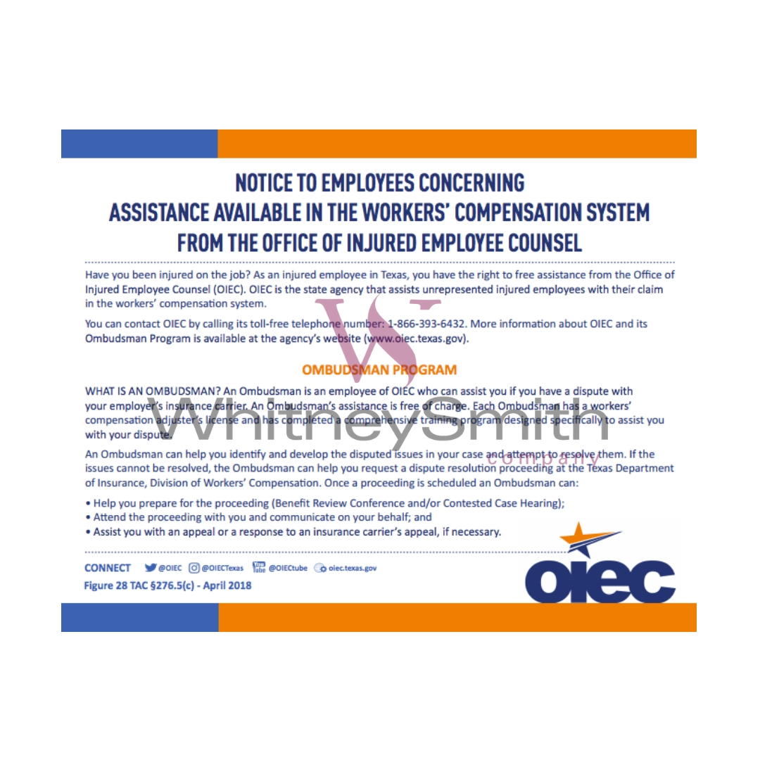 office  injured employee counsel ombudsman program whitneysmith company