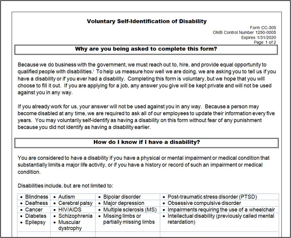 Disability SelfIdentification Form Approved  Whitneysmith Company